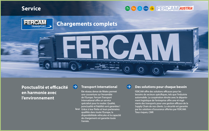 Nos transporteurs - FERCAM Transport international
